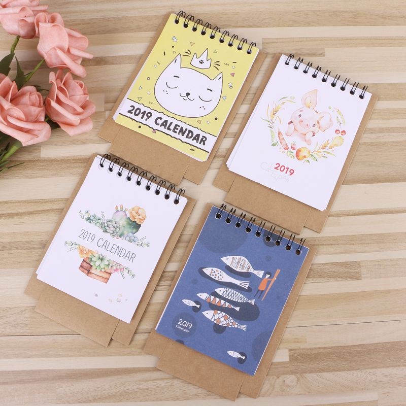 2019 Cute Cartoon Desktop Paper Creative Desk Vertical Paper Multi-function Storage Box Timetable Plan Notebook F21 19 Dropship Calendars, Planners & Cards