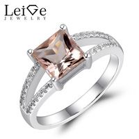 Leige Jewelry Morganite Ring Natural Pink Gemstone Stunning Engagement Promise Rings for Women Silver 925 Jewelry Princess Cut
