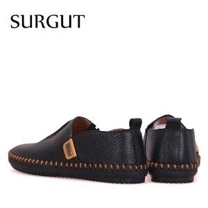 Image 2 - Мужские мокасины на плоской подошве SURGUT, черные туфли из натуральной кожи, повседневные мягкие лоферы для вождения, дышащая обувь для весны и осени, 2019