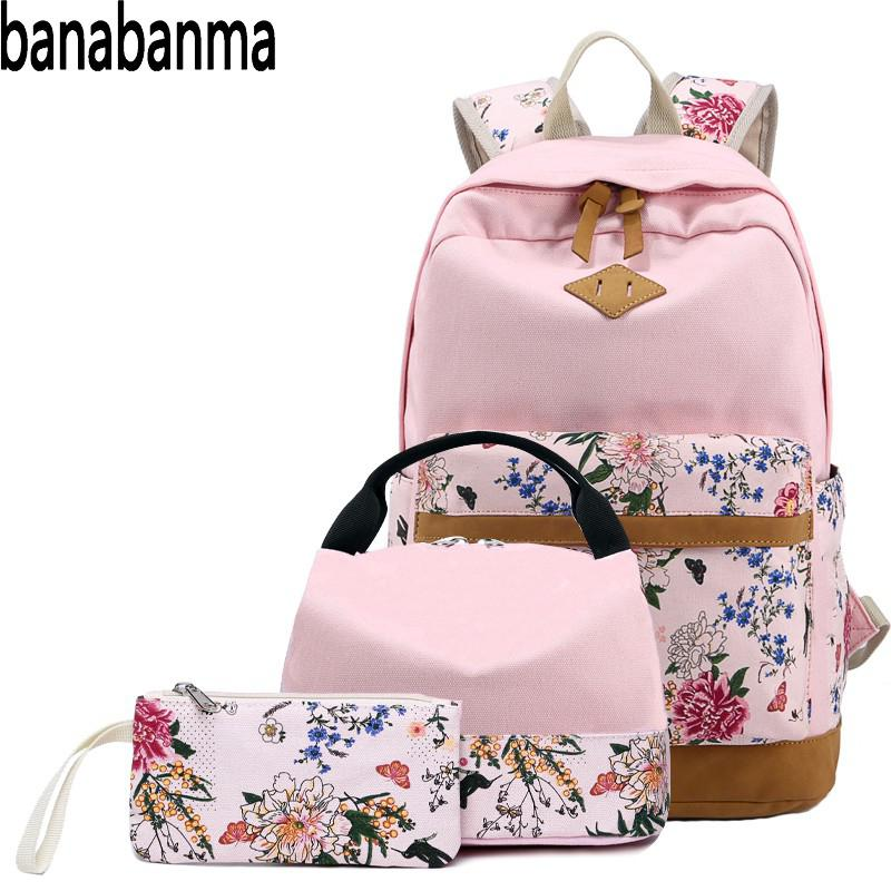 Banabanma Women Bag Set 3pcs/set Girl Rural Style Canvas Backpack Women Backpack Lightweight Portable Bags For Women 2018 ZK30