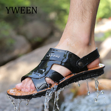 YWEEN New Men's Sandals Split Leather Men Beach Sandals Men Casual Shoe