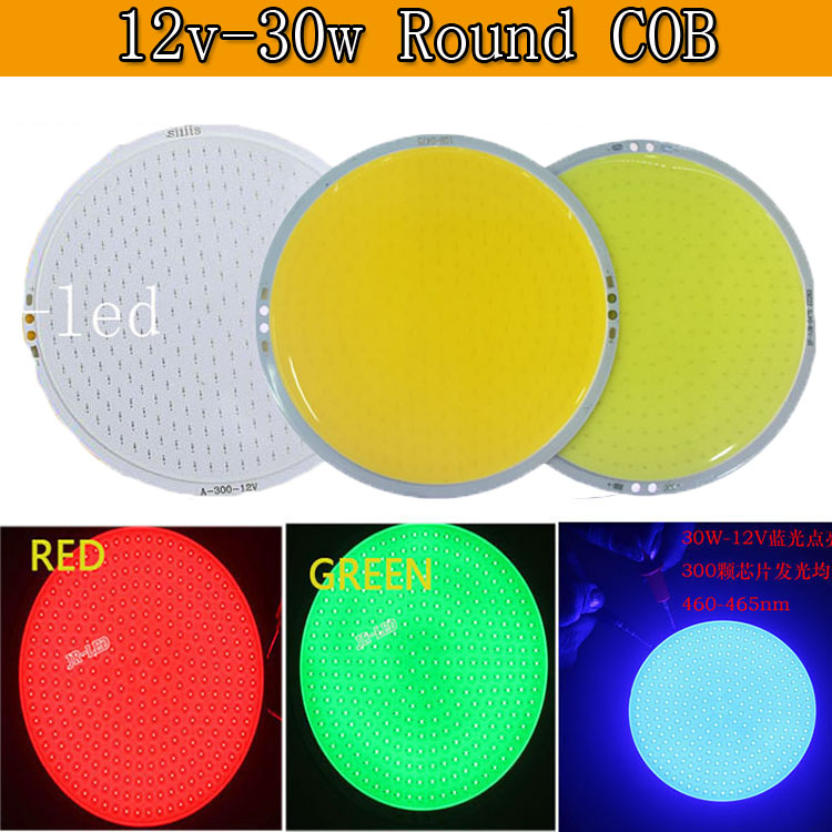 30W Ultra Bright Warm Pure White Round LED COB Lamp Chip On Board DC 12V 14V DIY LED Light Source 108mm Circular LED White red [sumbulbs] 200x10mm 0422 10w led light cob strip lamp dc 12 14v 1000lm green yellow red blue warm white pure white drl car light
