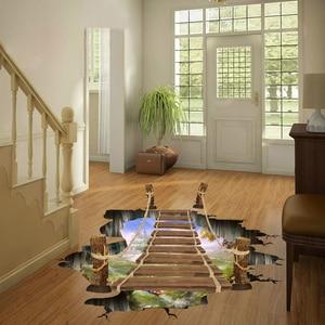 Image 4 - 3D drawbridge simulation Floor/wall stickers for kids rooms decals home decor landscape False windows Wall sticker decoration