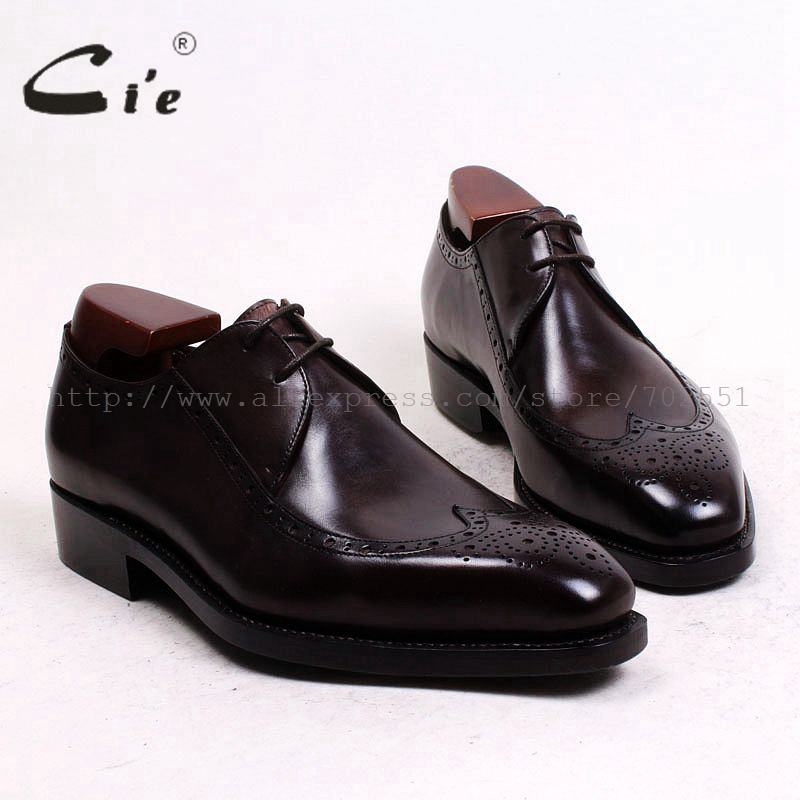 cie Free Shipping Custom Bespoke Handmade Pure Genuine Calf Leather Outsole Breathable Full brogues Men's Derby Brown Shoe D144 cie free shipping mackay craft bespoke handmade pure genuine calf leather outsole men s dress classic derby dark gray shoe d47