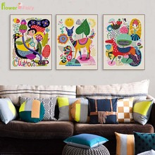 Лучший!  Акварельные Животные Wall Art Холст Картины Цветы Северные Плакаты Плакаты И Принты Картинки