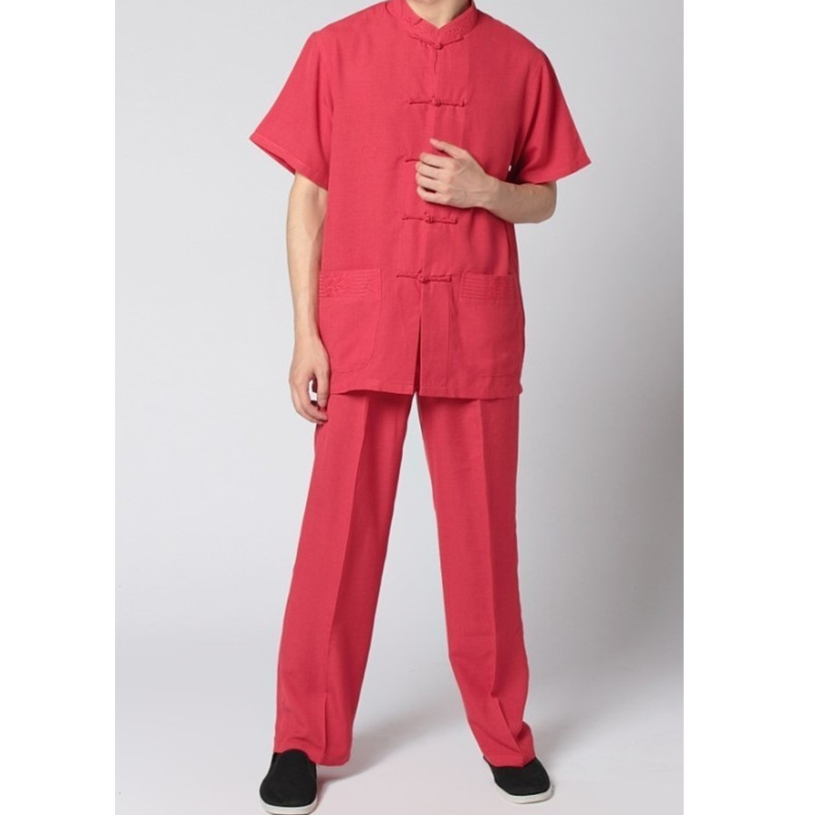Promotion Red Black Men s Linen Suit Chinese Classic Kung Fu Sets Wing Chun Costume S