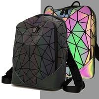 Women Backpack Luminous Geometric Plaid Men Backpacks For Teenage Girls Bagpack Bag Holographic Backpack School Mochila