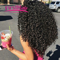 7a Mongolian Kinky Curly Hair With Closure 3 Bundles Cheap Human Weave Curly With Closure First Hair Tissage Curly Avec Closure