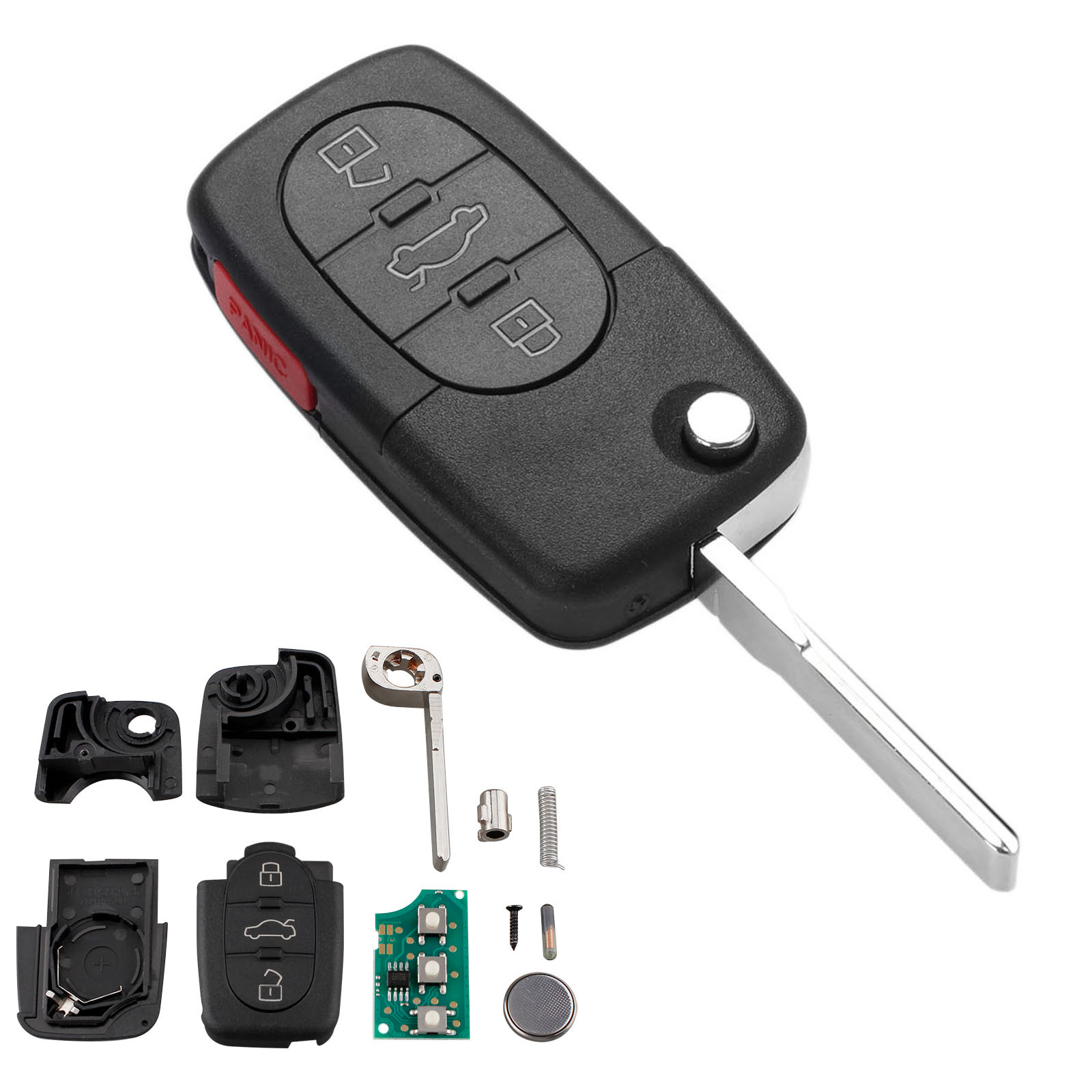 Yetaha 3+1Button 315MHz Car Remote Key For AUDI A4 S4 A6 A8 TT 1997 1998 1999 2000 2001 2002 2003 2004 2005 4D0837231E ID48 Chip