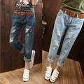 2 Colors Size 26-34 Spring Summer Women Boyfriend Distressed Jeans Ankle-Length Loose Trousers Denim Pants Ripped Harem Jeans