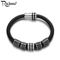 RUIMO Men Stainless Steel Leather Bracelet Black Genuine Braided Magnetic Clasp Bead Bracelet Fashion Bangle Trendy Jewelry