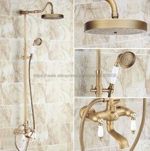 цена на Antique Brass Rainfall Shower Set Faucet + Tub Mixer Tap + Handheld Shower Spray Wall Mounted Brs120