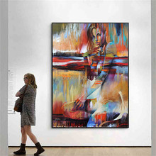 Hand-painted  Modern Nude Woman Portrait Oil Painting on Canvas red orange Abstract fashion Naked GIRLS Pictures for Living Room цена в Москве и Питере
