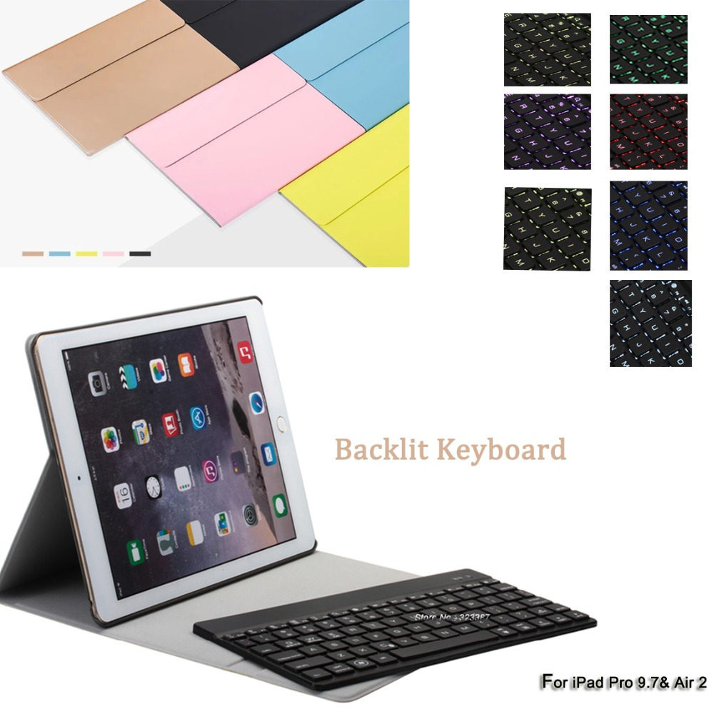ФОТО wits@d For iPad Air 2 Keyboard Case,Trifold Slim Leather Smart Case Cover with 7-colors Backlit Aluminum Keyboard