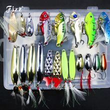 20Pcs Multiple Style Metal Fishing Lure Set 3d Fish Eye VIB Spoon with Feather Artificial Bait in Plastic Box