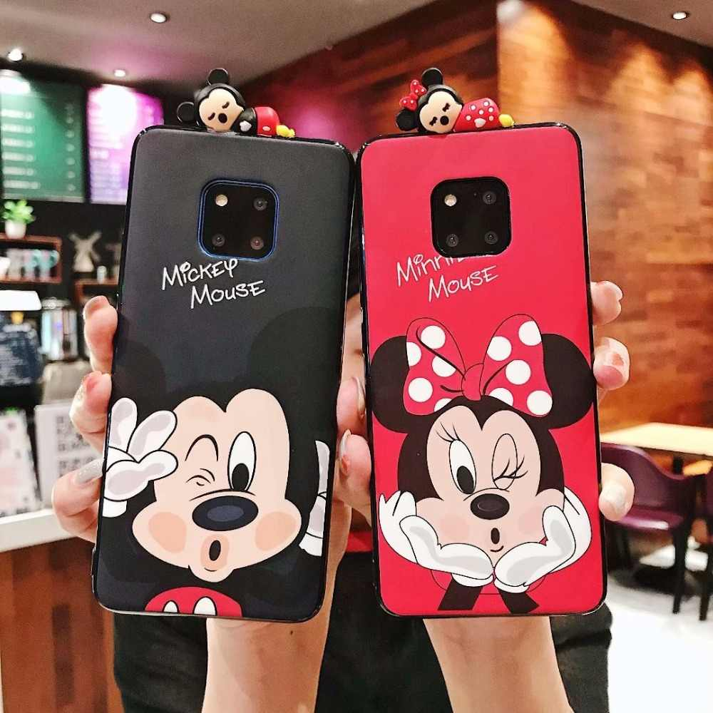 3D Cartoon Mickey Minnie Phone Cases for Huawei P20 Mate 20 P30 Lite Plus Couple Matte Soft Silicone TPU Cover For Huawei Nova 4