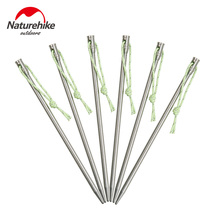 Naturehike 6Pcs/Lot Titanium Tent Stakes Pegs Nails For Outdoor Camping Tent Accessories