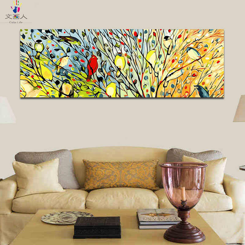 Habitat digital Paint By Numbers with kits Forest Branch Birds Magpies wall Pictures for living room modular painting Hoom Decor
