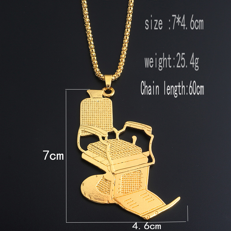 SC Fashion Gold Barber 39 s Series Necklaces Hip Hop Barber Chair Hairdresser Gothic Chain Necklace Scissors Comb Jewelry For Men in Pendant Necklaces from Jewelry amp Accessories