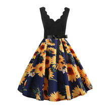 5ba0b63b1605 Vintage Summer Dress Prairie Chic Women Sleeveless Fashion Sunflower Print  Patchwork Flare Dress Women Clothes 2019