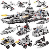 472pcs 6 in 1 Building Blocks Educational Enlighten Children Toys City Police Helicopter Airplane Bricks