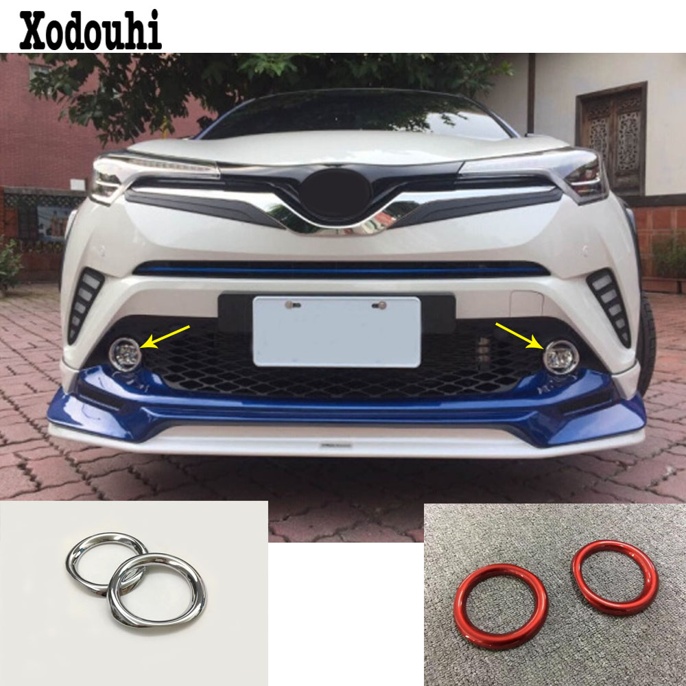 Car Body Front Fog Light Lamp Detector Frame Stick ABS Red Styling Cover Trim 2pcs For Toyota C-HR CHR 2017 2018 2019 2020