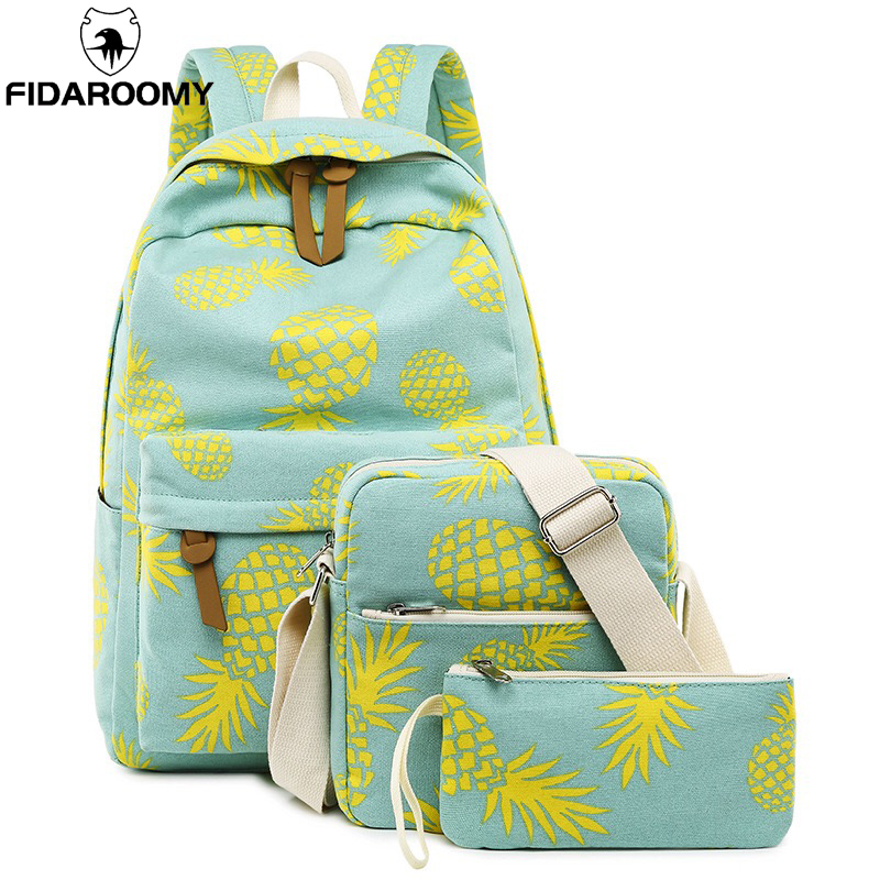 3 In 1 Student Backpack Set For Teenager Girls Cute Pineapple Printing Canvas Bookbag 14 Inch Laptop School Bag Camping Bag 3pcs