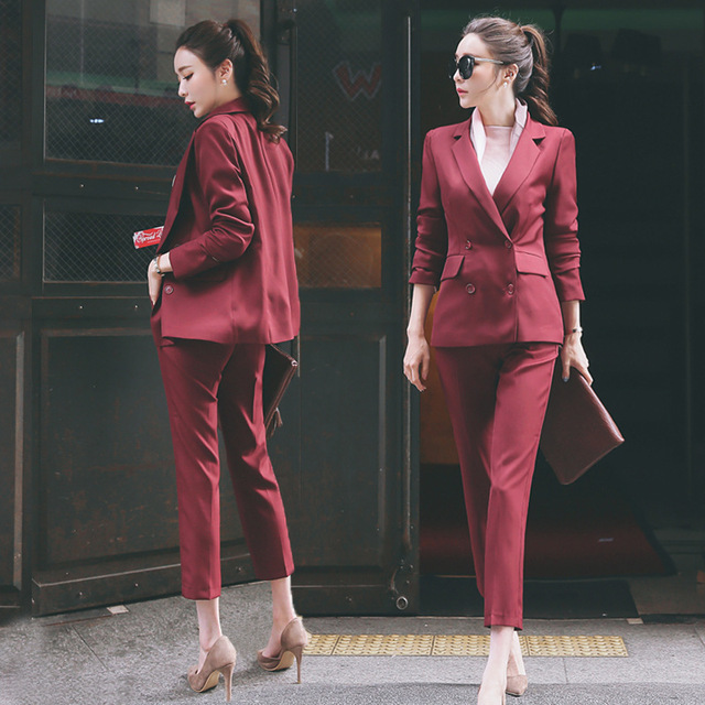 183ce2facc070 2018 new spring Autumn winter warm women set work wear pants suit formal  long sleeve blazer+pant female office trousers suits