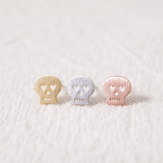 2016 New Arrival Fashion Nightmare Skull Stud Earrings Simple Tiny Stud color gold/silver/rose gold 10pairs/lot ED002