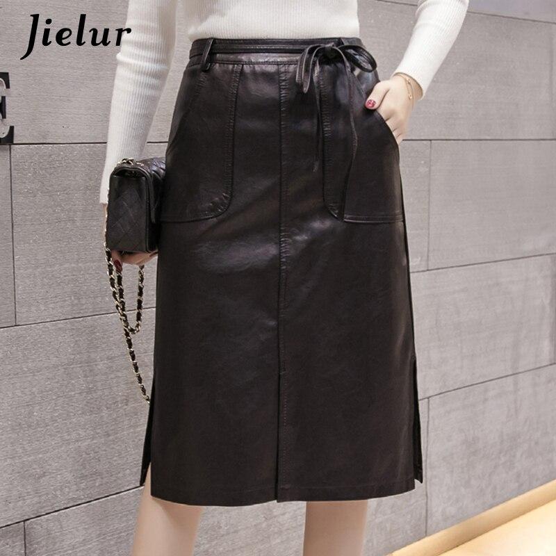 Jielur шикарные юбки из искусственной кожи на шнуровке с карманами Женская Осенняя юбка с высокой талией и разрезом модная юбка из искусственной кожи женский s xxl