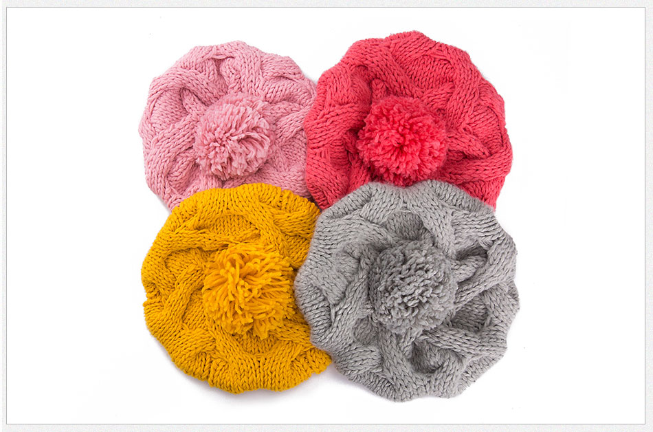 520e9d1a5f5 WISH CLUB Winter Women Hats Knitted Beanies Pom Pom Hat For Girl W...