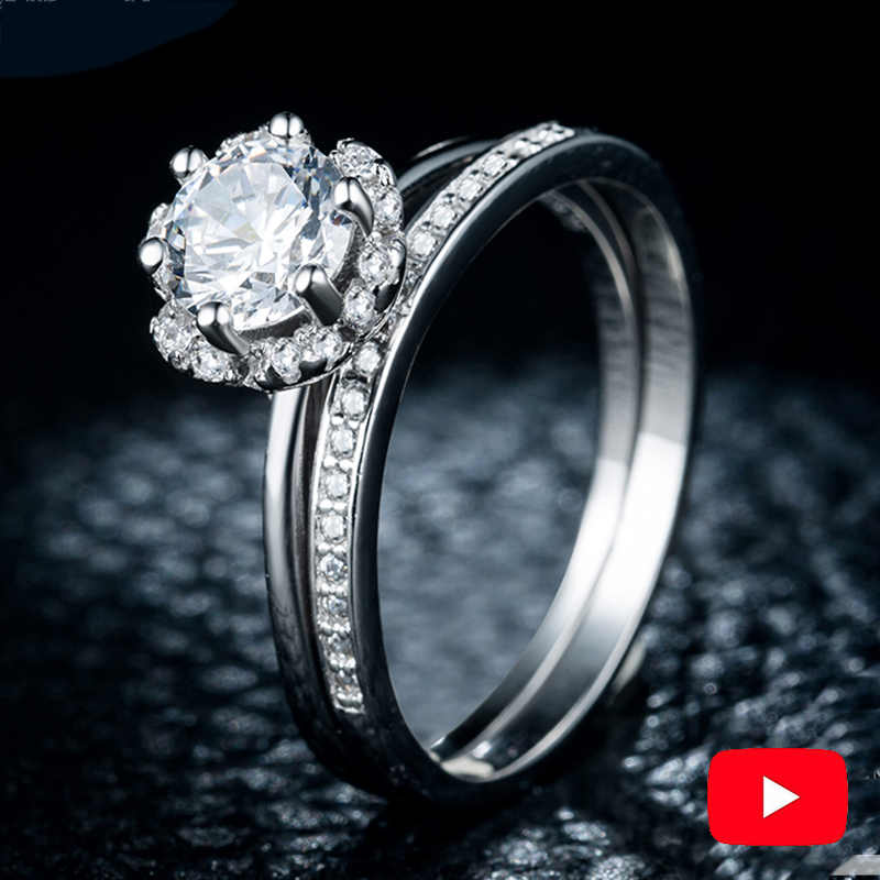 Sona NOT FAKE S925 Sterling Silver Ring SONA Diamond VS Clarity 0.5 Carat Luxury exquisite Ring Wedding Engagement 2pcs couple