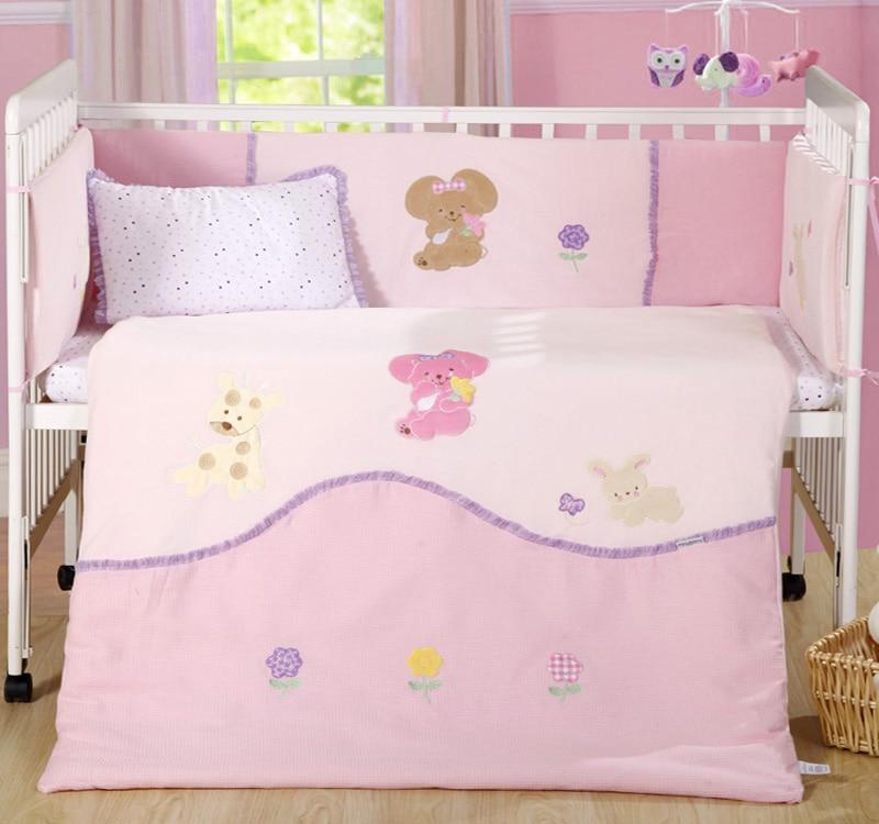 7 Pc Baby Bedroom Nursery Bedding Set Cotton Velvet 3d Embroidery Newborn Baby Girl Cot Bedding