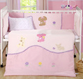 7 pc Baby bedroom nursery bedding set cotton velvet 3D embroidery  newborn baby girl cot bedding summer fleece blanket
