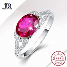 Elegant Oval Cut Rose Red Zirconia Crystal 100% 925 Sterling Sliver Ring Wedding Party Ring Size 6 7 8 9 Free Jewlery Box