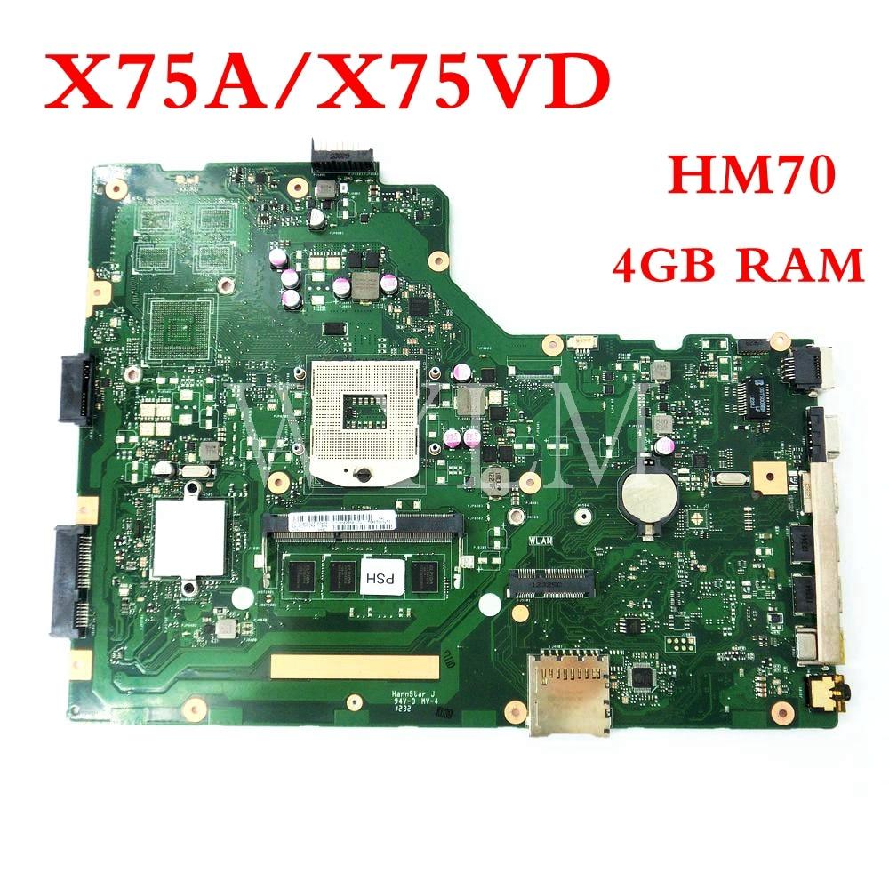 X75A 4G RAM HM70 mainboard For ASUS R704V X75VD X75A X75A1 X75V X75VB X75VC Laptop motherboard 60 NDOMB1501 B06 free shipping