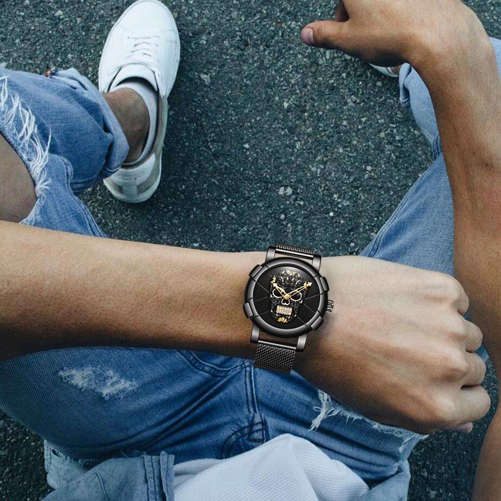 3D Skull Black Stainless Steel Gold Rhinestone Wristwatch 3