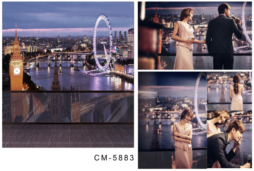 Customize vinyl cloth print 3 D night city scenery wallpaper photo studio background for portrait photography backdrops CM-5883