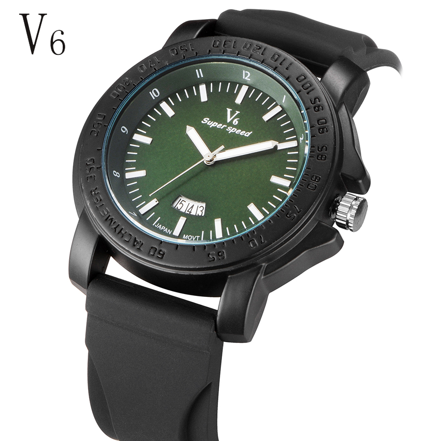 14a26e4f 2016 V6 Brand Men watch military fashion watches Rubber Strap quartz sports  wrist watches male calendar clock relogio masculino