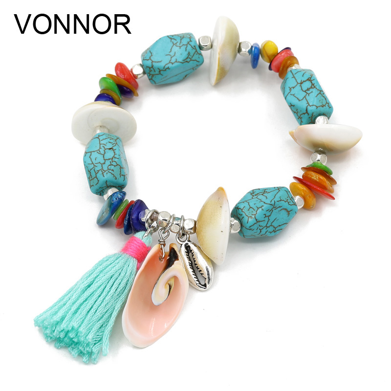 VONNOR Bracelet for Women Bohemian Shell Stone Bracelets Beach Holiday Accessories Female Tassel Bracelet Jewelry Dropshipping