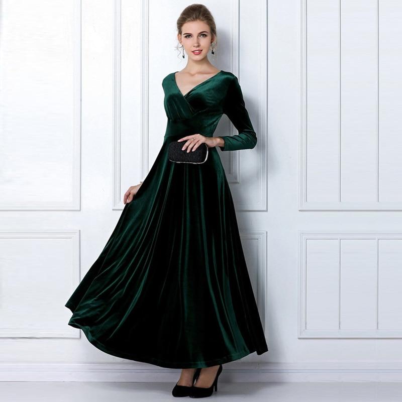 2017 Autumn Winter Velvet Maxi Dresses Long Elegant V Neck Long Sleeve Dress Women Female Vestidos Green Black Plus Size xxxlP40