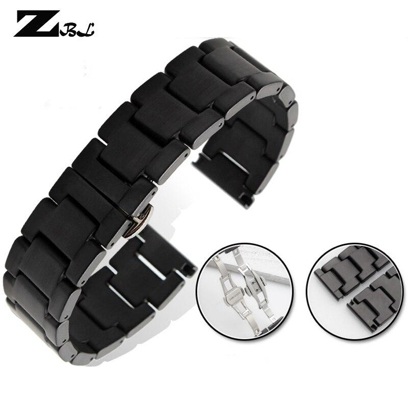 100% Ceramic watchband 16 18 20 22mm watch band matte Ceramic wristwatches strap black watch accessories waterproof