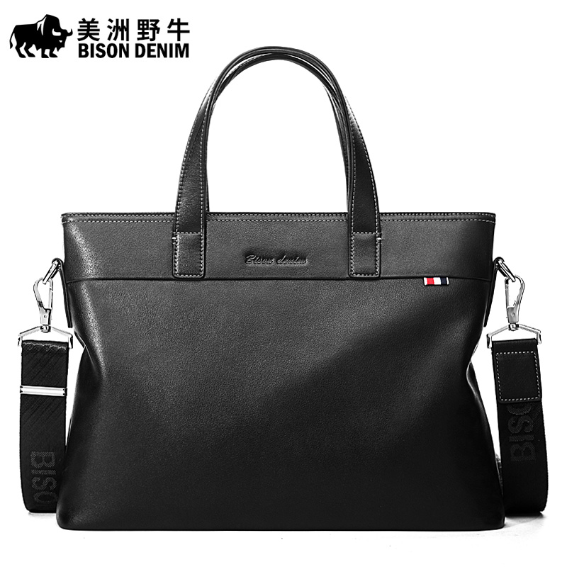 BISON DENIM Brand New Men Shoulder Bags Leather Genuine Briefcase Business Travel Messenger Bag Men's 13 inch Cowhide Tote Bag sahar cases чехол ярко розовые цветы и черно белая полоска iphone 4 4s