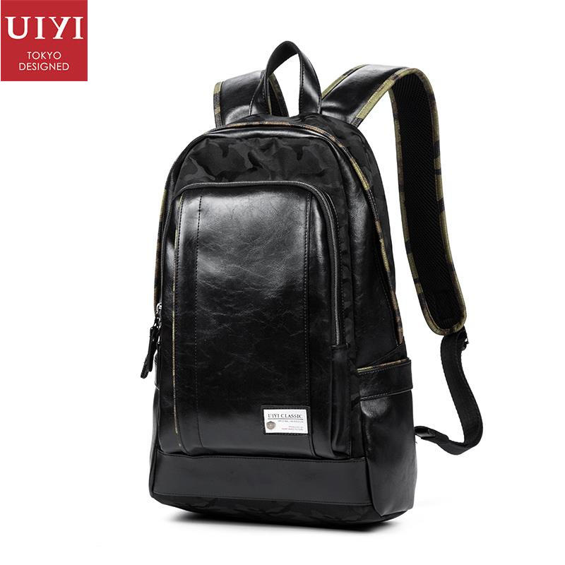 uiyi backpack men polyester microfiber pu leather patchwork backpacks for teenagers school rucksack school bags travel 160014 UIYI PVC Leather Backpacks Men Casual Daypacks School Bag For Teenagers Black Laptop Travel Bag Quality Bolsas Mochila 150143
