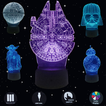 3D Night Lights Death Star Yoda Warrior BB8 Led Lamp Table Lamps Touch USB Light For Bedroom Bar Home Desk Decoration