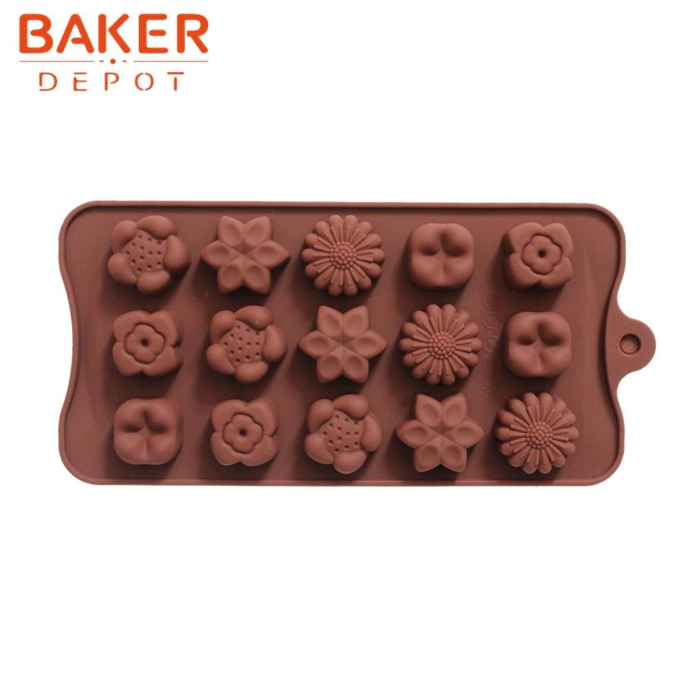 silikona pelējuma jauni 15 caurumi ar 5 veidu ziedu silikona šokolādes veidņu ledus kubu veidnēm DIY cepšanas veidnes CDSM-229