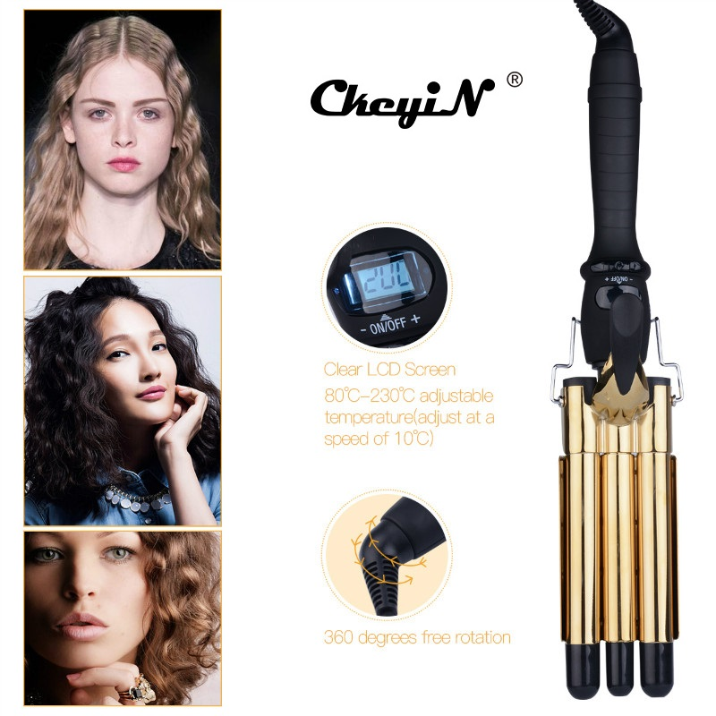 Professional Hair Waver Wave Curler Ceramic Hair Curling Iron 3 Barrel Clamp Curls Roller LCD Display Crimper Tongs Curling Wand цена