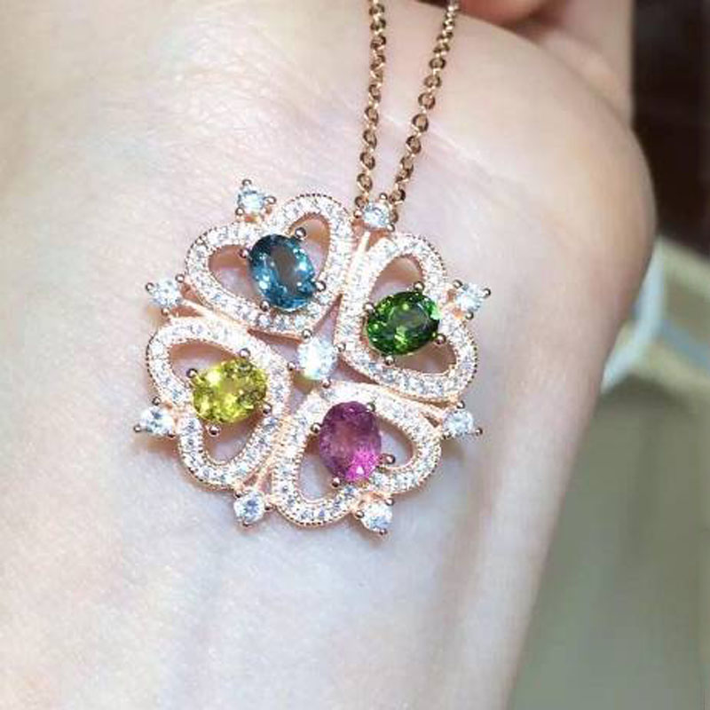 2017 Collares Qi Xuan_Tourmaline Stone Flower Pendant Necklaces_Real Necklaces_Quality Guaranteed_Manufacturer Directly Sale