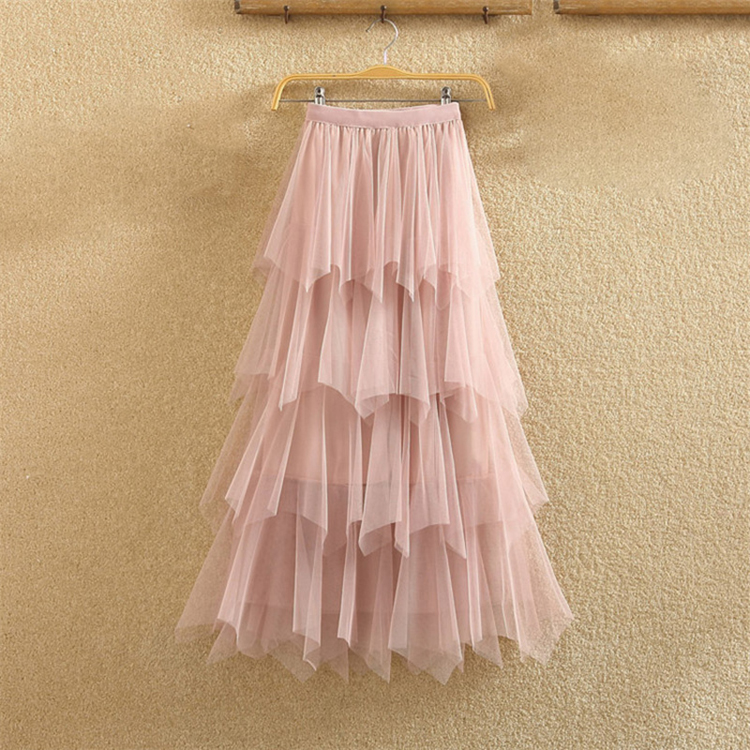 Women irregular Tulle Skirts Fashion Elastic High Waist Mesh Tutu Skirt Pleated Long Skirts Midi Skirt Saias Faldas Jupe Femmle 37