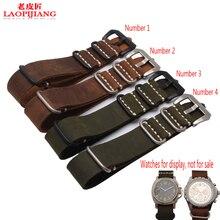Duty qualidade crazy horse pulseira de couro, adaptador de cola mar artesanal pulseira de couro relógio 22mm 24mm 26mm velho correia nato para homens